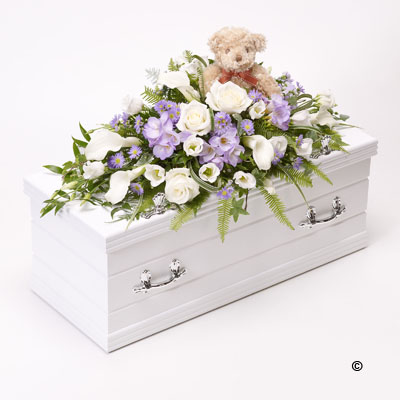Children's Casket Spray with Teddy Bear - Blue & Lilac