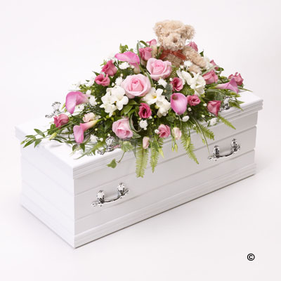 Children's Casket Spray with Teddy Bear - Pink