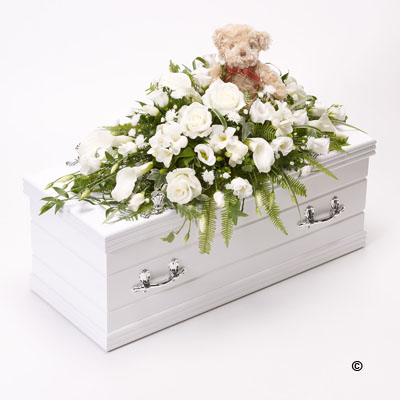 Children's Casket Spray with Teddy Bear - White