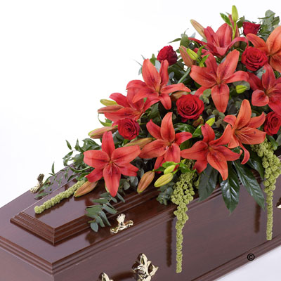 Lily & Rose Casket Spray - Red