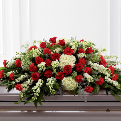 Mixed Casket Spray - Red & Green