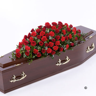 Rose & Carnation Casket Spray - Red