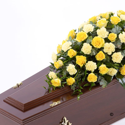 Rose & Carnation Casket Spray - Yellow