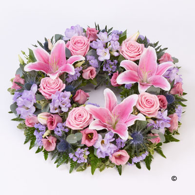 Rose & Lily Wreath - Pink & Lilac
