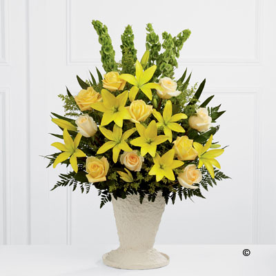 Yellow Lily & Rose Service Arrangement